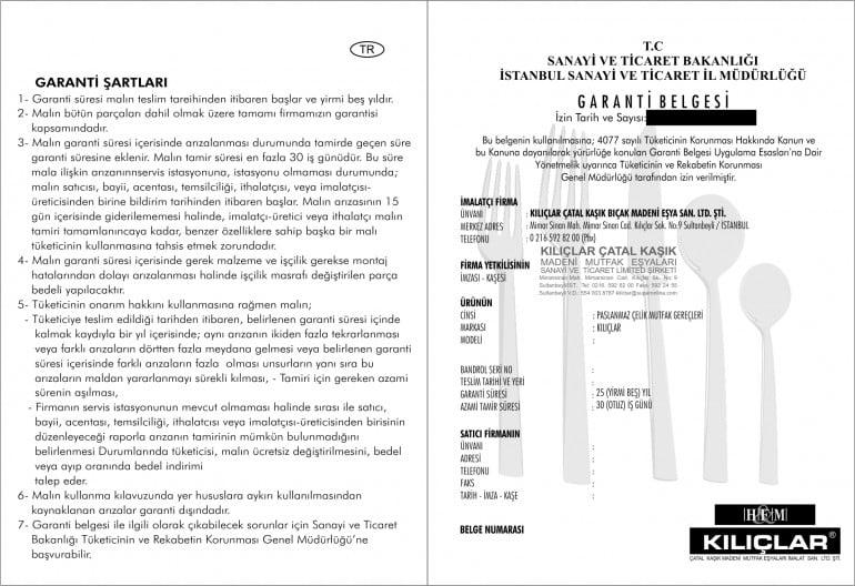 garanti belgesi basimi - Garanti Belgesi